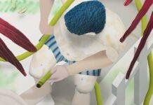 Brandon Lipchik, Garden Hose, 2019, Acryl, Airbrush und Mischtechnik auf Leinwand