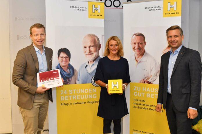 Präsentierten den Pflege-Monitor 2020 (v. l.) IMAS-Meinungsforscher Paul Eiselsberg, Hilfswerk-GF Viktoria Tischler und Hilfswerk-Obmann Wolfgang Hattmannsdorfer.
