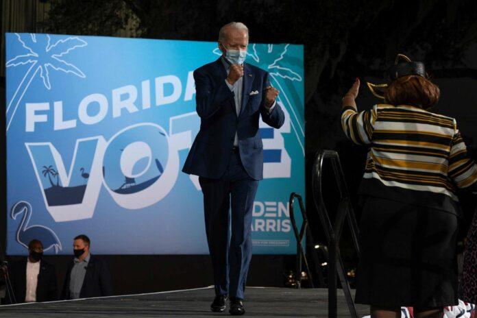 """Wahlkampf """"rund um die Uhr"""". Trump-Herausforderer Joe Biden im Rahmen eines Auftritt im """"swing state"""" Florida."""