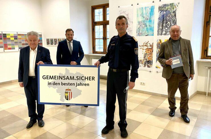 V. l.: Seniorenbund-Landesobmann LH a. D. Josef Pühringer, Landesgeschäftsführer Franz Ebner, Landespolizeidirektor-Stv. Aloiß Lißl, Seniorenbund-Sicherheitsexperte Josef Hackl