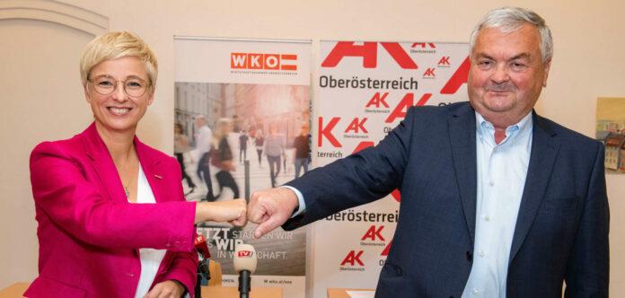 WKOÖ-Präsidentin Doris Hummer und AK-Präsident Johann Kalliauer wollen künftig wieder besser zusammenarbeiten.