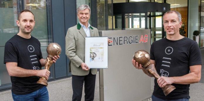 V. l.: Sieger Martin Kreisel, Werner Steinecker (Generaldirektor Energie AG OÖ), Sieger Manfred Ledermüller