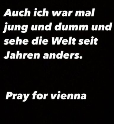 ... nach dem Anschlag von Wien distanziert sich der Held auf Instagram davon.
