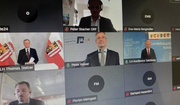 Nach der wegen Corona virtuell absolvierten Landeshauptleute-Konferenz standen am Freitag (im Bild oben/v. l.) Thomas Stelzer (OÖ), Peter Kaiser (Ktn) und der aktuelel Vorsitzende Wilfried Haslauer (Sbg) in einer Video-Pressekonferenz Rede und Antwort.