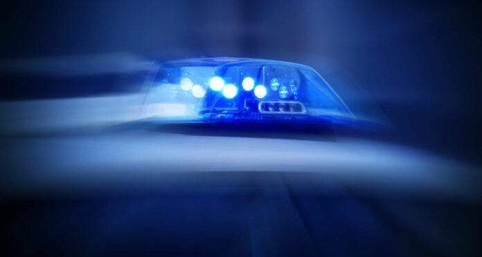 Polizeiauto mit eingeschaltetem Blaulicht