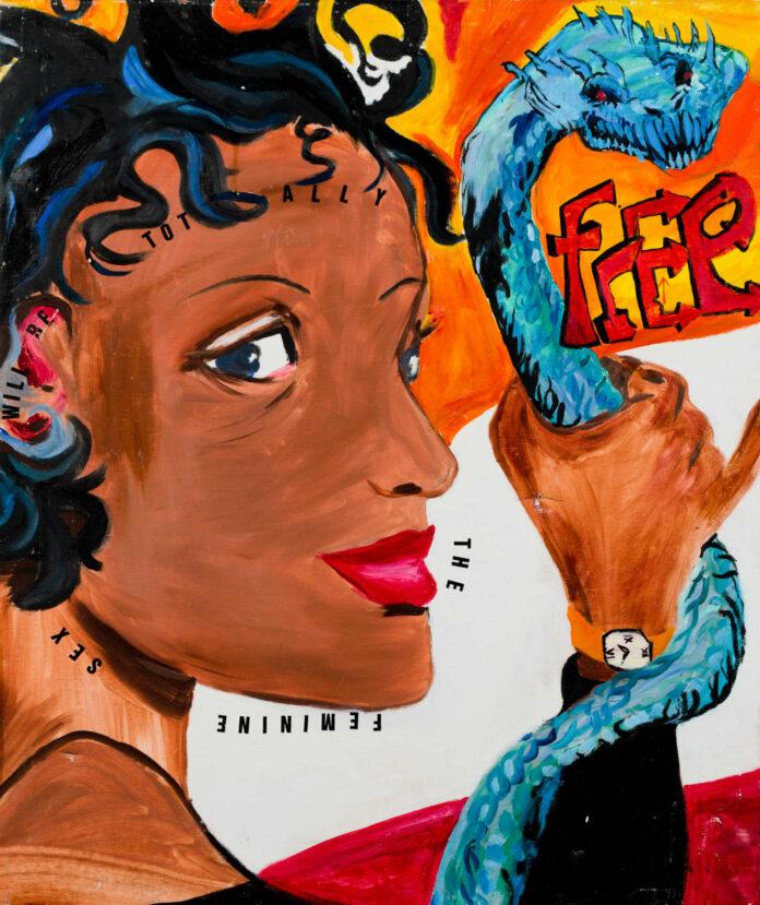 Schon früh in ihrem Schaffen beschäftigte sich Linda Bilda mit der Malerei: o. T. / (The female Sex will be totally free), 1999