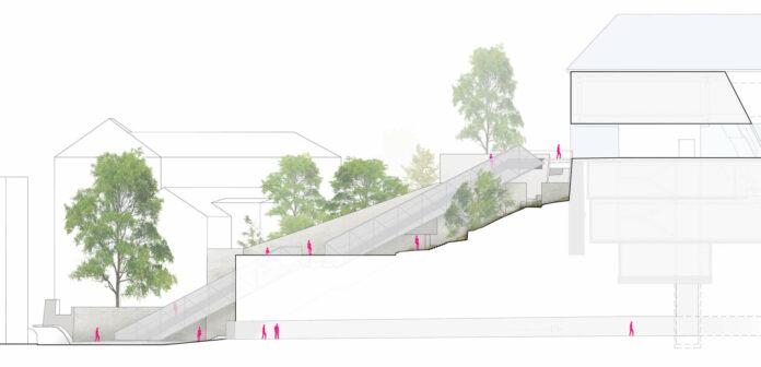 Sie soll die neue Attraktion in der oö. Landeshauptstadt werden: Eine etwa 50 Meter lange Rolltreppe auf den Linzer Schlossberg.
