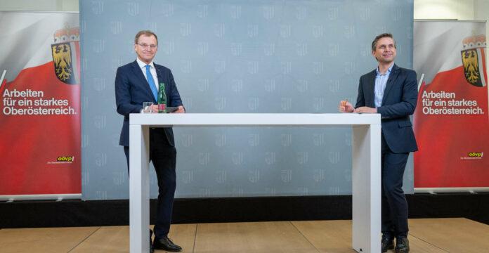 Virtuell verlaufen sind die Bezirkskonferenzen von LH Thomas Stelzer und Landesgeschäftsführer Wolfgang Hattmannsdorfer mit den OÖVP-Funktionären.