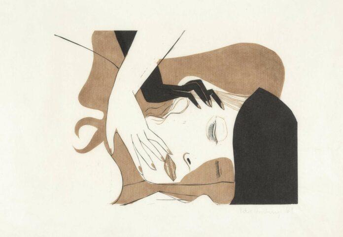 Peter Kubovsky Ohne Titel, 46 x 69 cm, 2 Farbplatten auf Japanpapier, Linolschnitt, 1969
