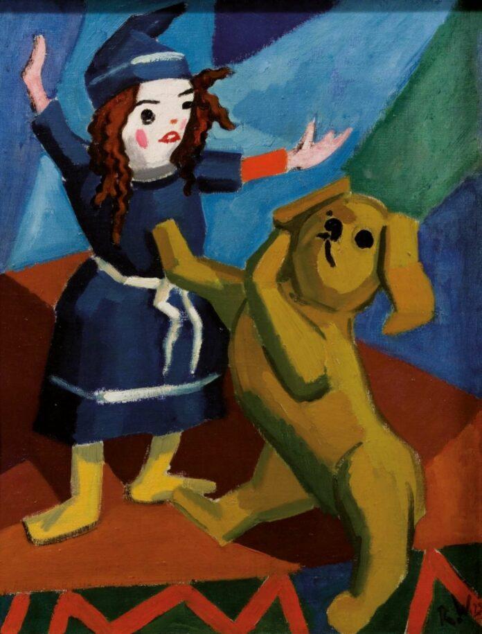 Rudolf Wacker, Stillleben mit Puppe und Hund, um 1923