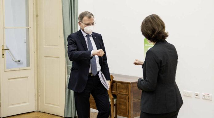 """Die Corona-Krise könne man nur """"mit vereinten Kräften bewältigen"""", so LH Stelzer und Ministerin Edtstadler, die gleichzeitig """"die enge Zusammenarbeit zwischen Bund und Ländern""""unterstrichen."""