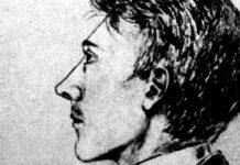 Der 16-jährige Adolf Hitler gezeichnet von seinem Mitschüler Armin Sturmberger in der Realschule Steyr, 1905