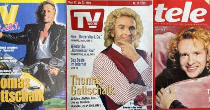 Thomas Gottschalk ist immer wieder auf den Titelseiten diverser Fernsehmagazine zu bewundern.