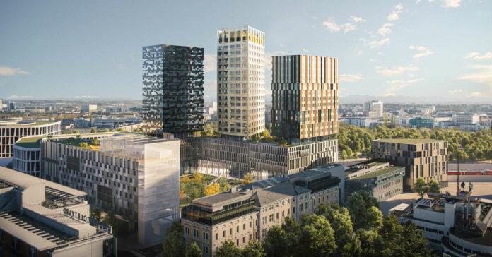Der blaue und der mittlere Turm sollen Platz für Büros schaffen, der rechte Turm ist der Hotellerie vorbehalten.