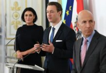 Tourismusministerin Elisabeth Köstinger, Finanzminister Gernot Blümel und Arbeitsminister Martin Kocher (alle ÖVP, von links) machen Österreich Mut.