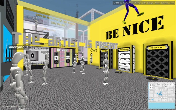 """Ausstellungsansicht """"BE NICE. To yourself. To your ideas. To your NFT"""""""