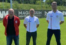 Juniors-Präsident Franz Mayer (l.) präsentierte Stefan Hirczy (m.) als neuen Trainer. Unterstützt wird der 32-Jährige vom neuen sportlichen Leiter Manuel Takacs (r.).