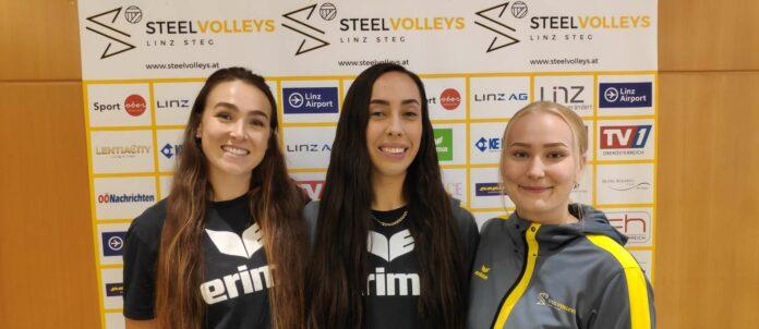 Das neue Legionärs-Trio der Steelvolleys (v.l.): Carly Beddingfield (24/USA), Jocelyn Urias (25/MEX) und Jutta Riikonen (21/FIN).
