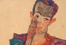 Egon Schiele, Selbstbildnis mit herabgezogenem Augenlid, 1910