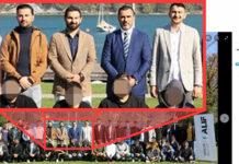 Gruppenfoto mit Islamisten (v. l.): SPÖ-GR Arslan, Turgut Akin, Alif-Chef Koca und SPÖ-GR Cansiz.