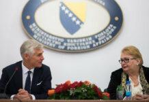 Außenminister Michael Linhart traf am Freitag im Rahmen seiner Reise nach Bosnien-Herzegowina mit seiner Amtskollegin Bisera Turkovic in Sarajevo zusammen.
